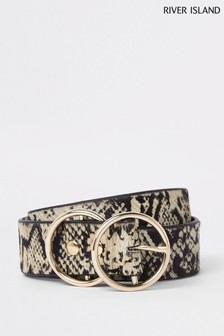 River Island Brown Print Snake Print Ponyskin Ring Belt