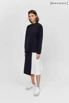 Warehouse Black Pleated Midi Skirt