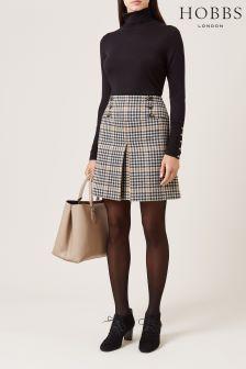 Hobbs Camel Black Joy Check Skirt