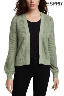 Esprit Green Cotton Blend Pointelle Cardigan
