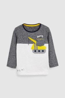 Long Sleeve Appliqué Digger T-Shirt (3mths-7yrs)