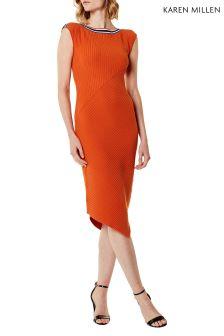 Karen Millen Orange Asymmetric Sporty Rib Knit Dress
