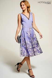 HotSquash Lilac Embroidered V-Neck Fit And Flare Dress