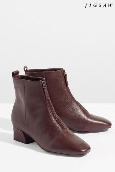 Jigsaw Wine Aldeson Zip Front Leather Boot