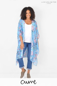 Live Unlimited Blue Curve Floral Longline Kimono