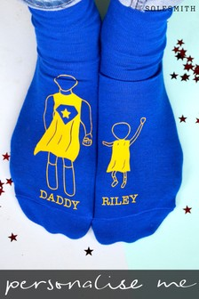 Personalised Superdad Photo Socks by Solesmith