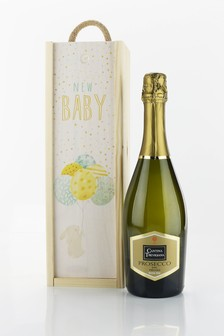 New Baby Prosecco and Wooden Gift Box