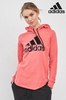 Różowa bluza z kapturem zakładana przez głowę adidas Badge Of Sport