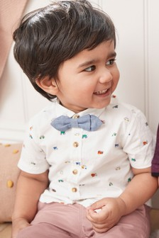 Car Print Short Sleeve Shirt And Bow Tie (3mths-7yrs)