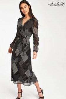 Lauren Ralph Lauren® Black Grey Check Print Wrap Midi Dress