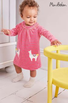 Boden Pink Fun Appliqué Velour Dress