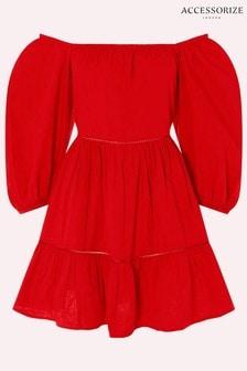 Accessorize Red Puff Sleeve Poplin Dress