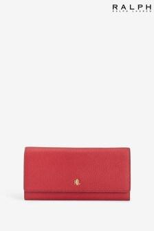 Ralph LaurenGeldbörse aus genarbtem Leder, Rot