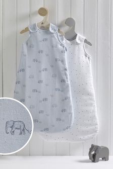 2 Pack Elephant & Stars 2.5 Tog Sleep Bags