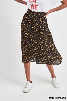 Whistles Black Aster Floral Textured Wrap Skirt