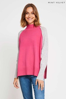 Mint Velvet Pink Blocked Grown On Neck Boxy Knit
