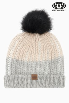 Animal Grey Cream Marl Avora Hand Knitted Beanie