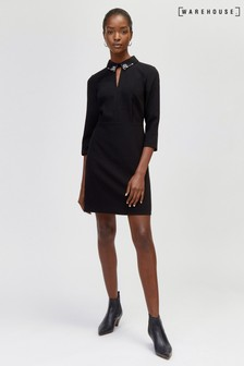 Warehouse Black Diamante Collar Dress