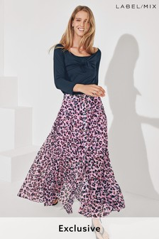 Mix/Huishan Zhang Leopard Pleat Maxi Skirt