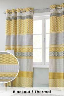 Mini Geo Stripe Blackout Eyelet Blackout/Thermal Curtains