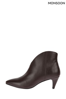 Monsoon Red Low Vamp Suede Ankle Boots