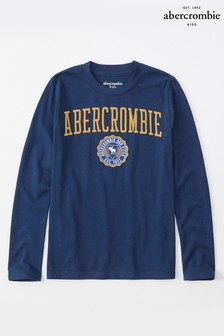 Abercrombie & Fitch Blue Long Sleeve Logo Tee