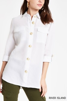93180dba696487 River Island White Long Sleeve Rochelle Boyfriend Shirt