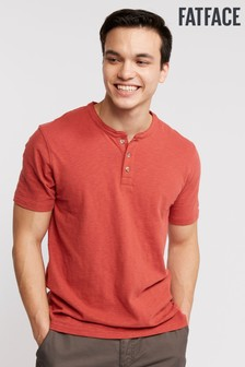 FatFace Slub Short Sleeve Henley T-Shirt