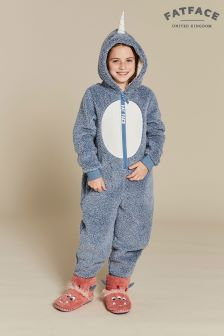 FatFace Blue Nancy Narwhal Fleece All-In-One