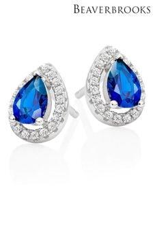 Beaverbrooks Sterling Silver Blue Pear Shaped Cubic Zirconia Halo Earrings