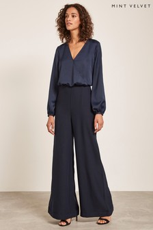 Mint Velvet Blue Satin Wide Leg Jumpsuit