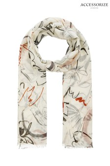 Accessorize Cream Opp Scribble Print Scarf
