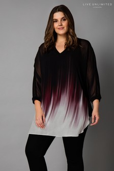 Live Unlimited Black Ombre Fade Hem Top