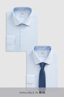 Plain And Check Shirts Two Pack With Tie