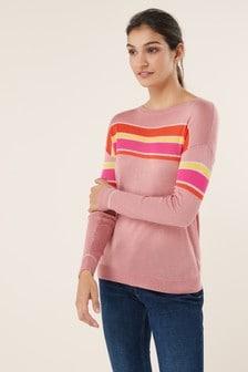 7ee6596cdb80 Pásikavý sveter s okrúhlym výstrihom