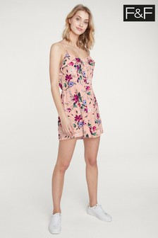F&F Nude Floral Ruffle Playsuit