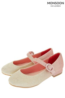 Ballerines scintillantes dégradées Monsoon Miley rose pâle