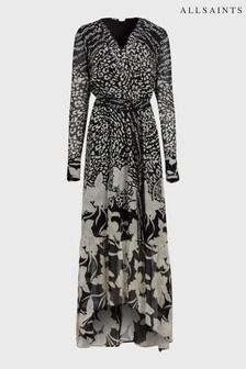 AllSaints Black Distorted Print Maxi Dress
