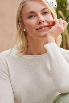 Pure Collection White Cashmere Crew Neck Sweater