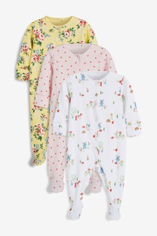 Farm Animal And Floral Sleepsuits Three Pack (0mths-2yrs)