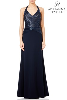 Adrianna Papell Blue Beaded Halter Gown