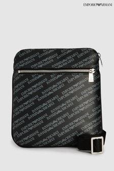 Emporio Armani Black Logo Print Messenger Bag