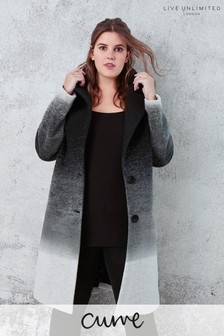 Live Unlimited Black Ombre Coat With Large Button