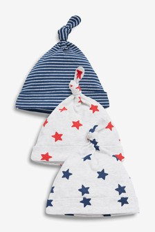 3 Pack Star Tie Top Hats (0-18mths)