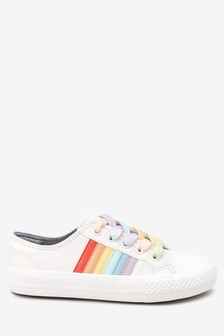 1b87f09b1ca White Rainbow Lace-Up Trainers (Older)