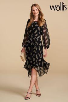 Wallis Petite Black Feather Dress