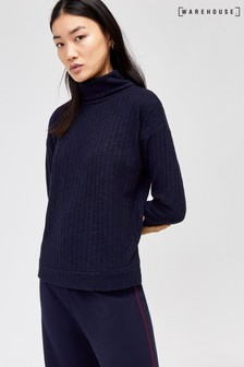 Warehouse Blue Cosy Rib Sweatshirt