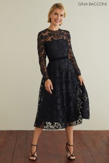 Gina Bacconi Black Lolita Appliqué Lace Dress