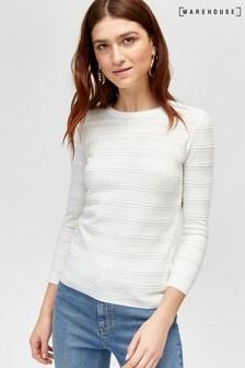 Biały sweter z ozdobnym szwem Warehouse Pretty