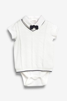 Knit Tank, Shirtbody And Bow Tie Three Piece Set (0mths-2yrs)
